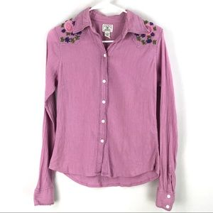 Lucky Brand | Boho Button Front Embroidered Shirt